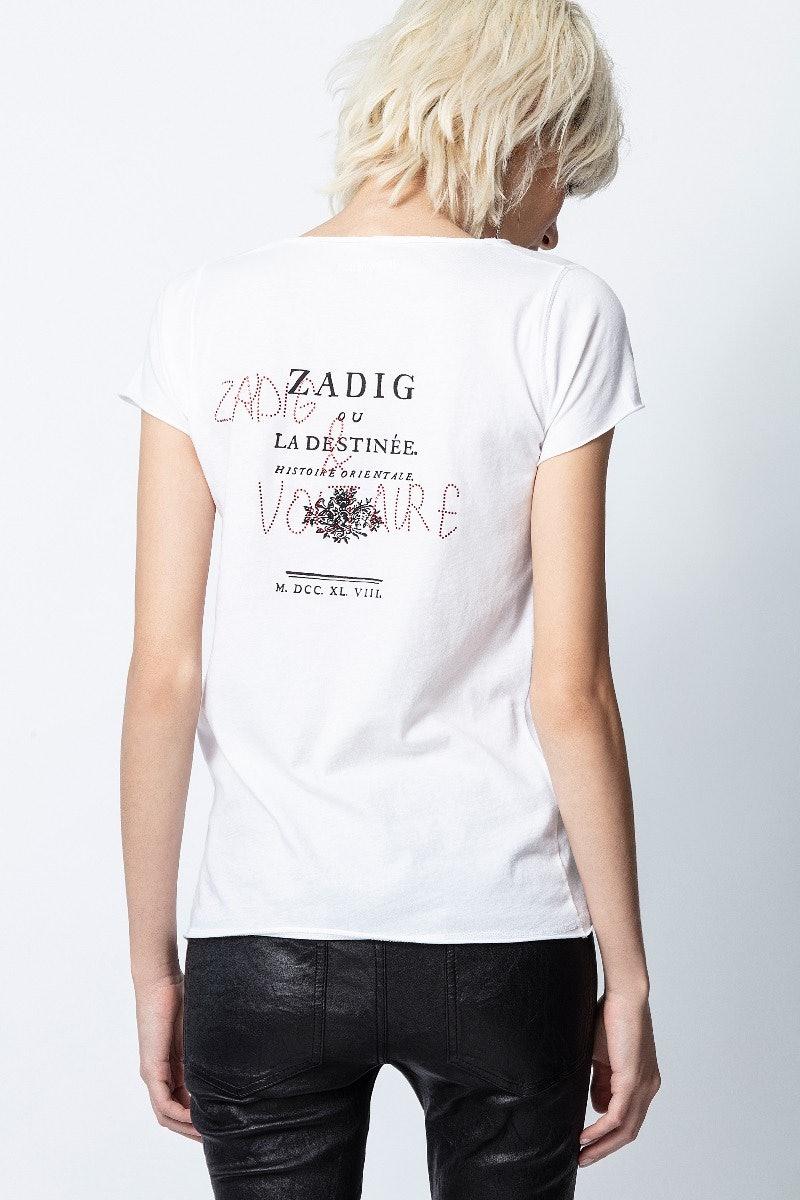 Destinee Strass Cotton Henley T-shirt