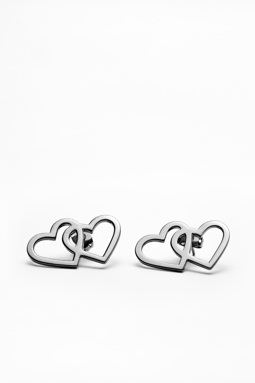 Boucles d'Oreilles Double Cœur