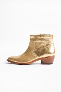 Pilar Low Gold ankle boots