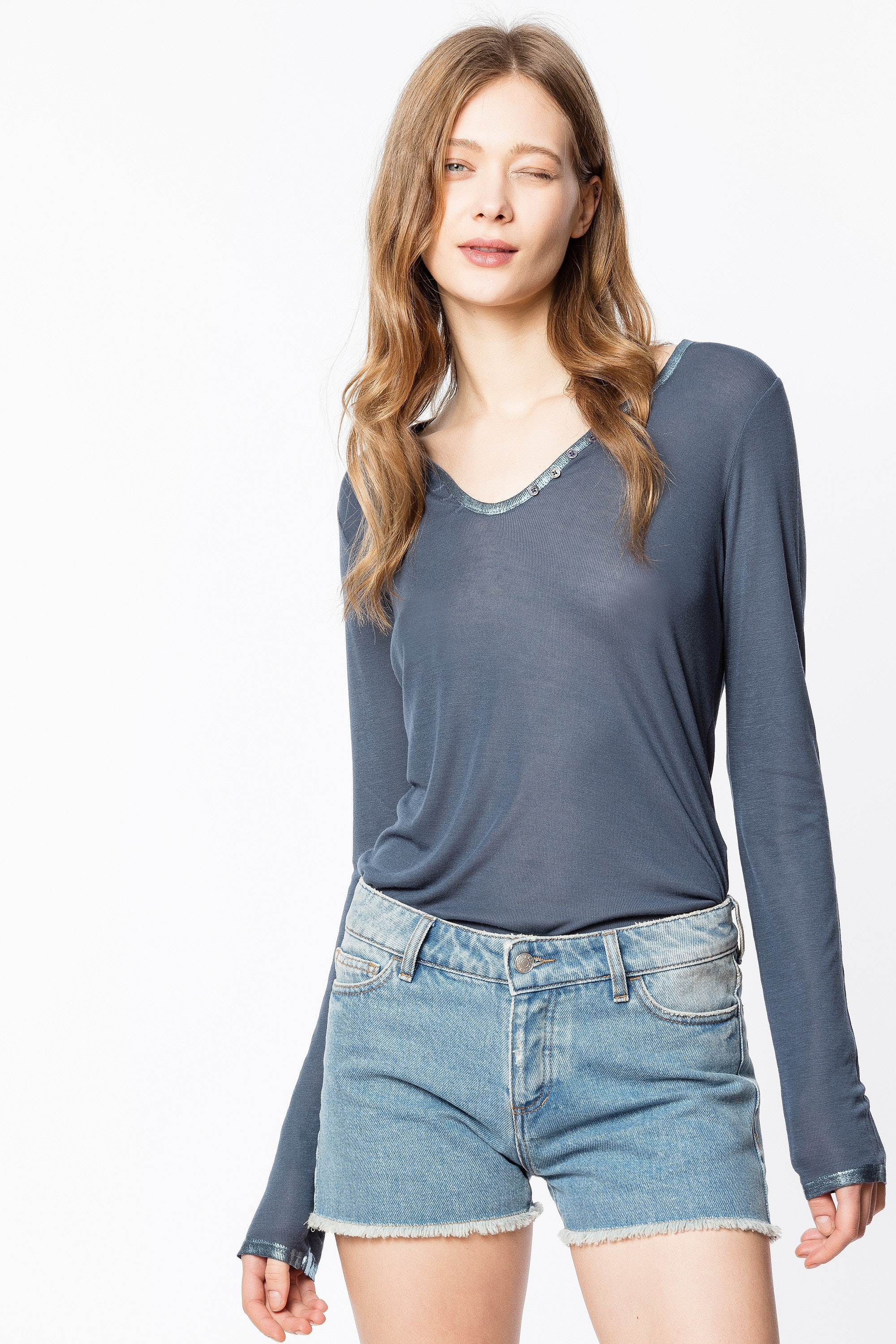 Foil Henley Top