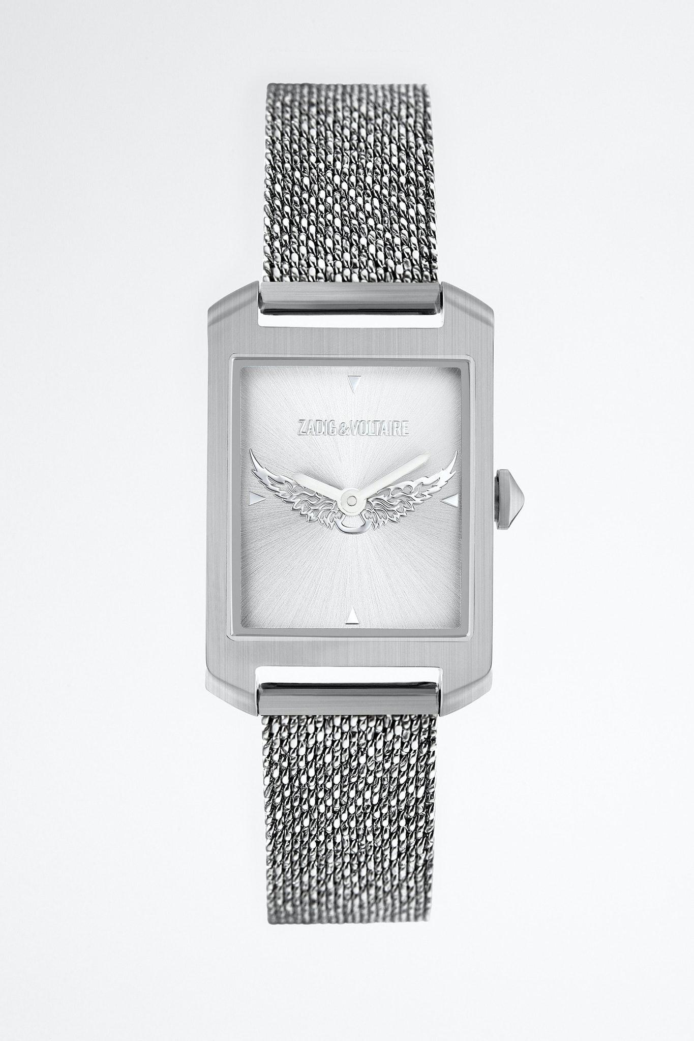Uhr Timeline Metal mit Flügelmotiv