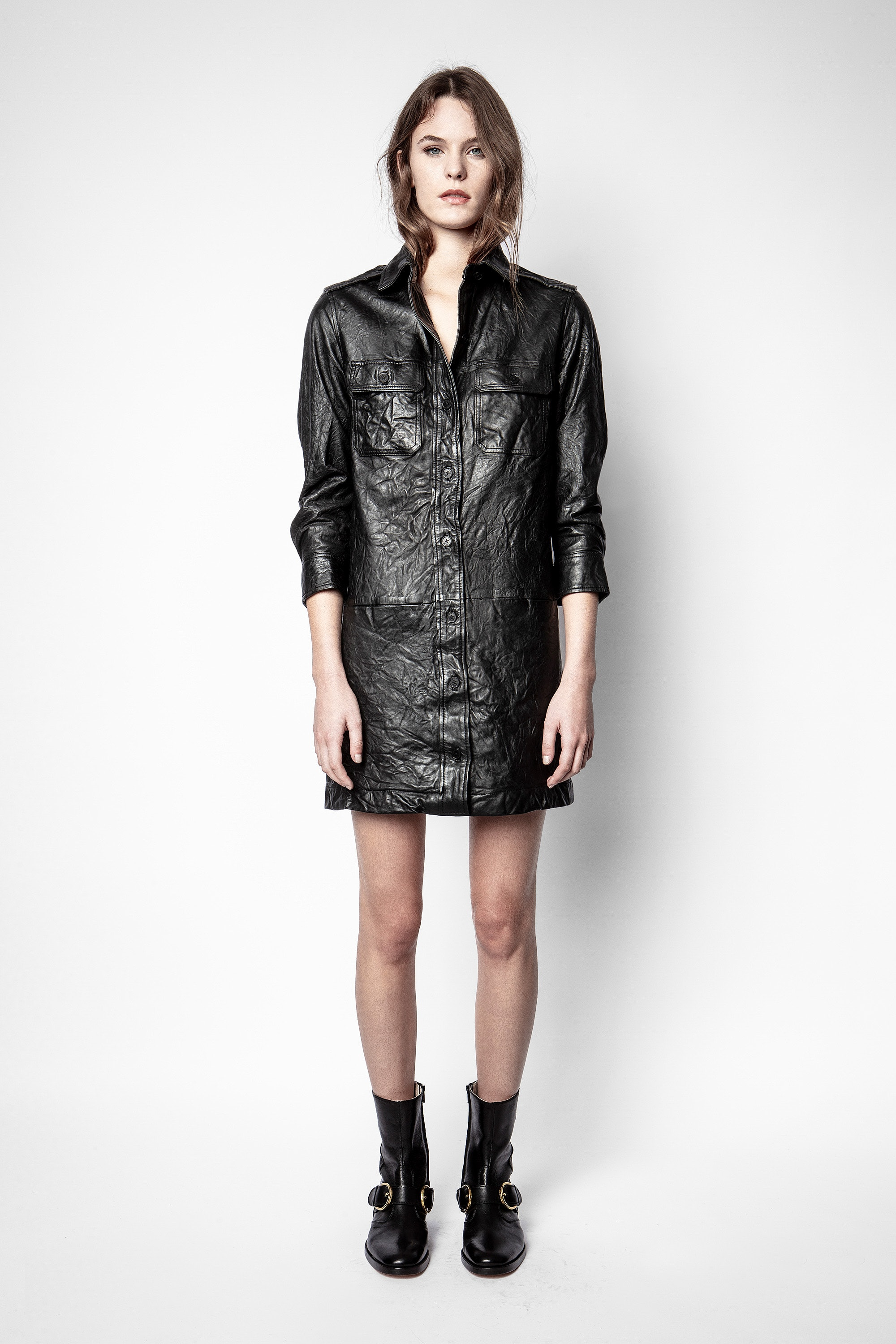 Rexy Crinkle Leather Dress