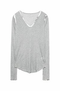 Long sleeved foil henley t-shirt