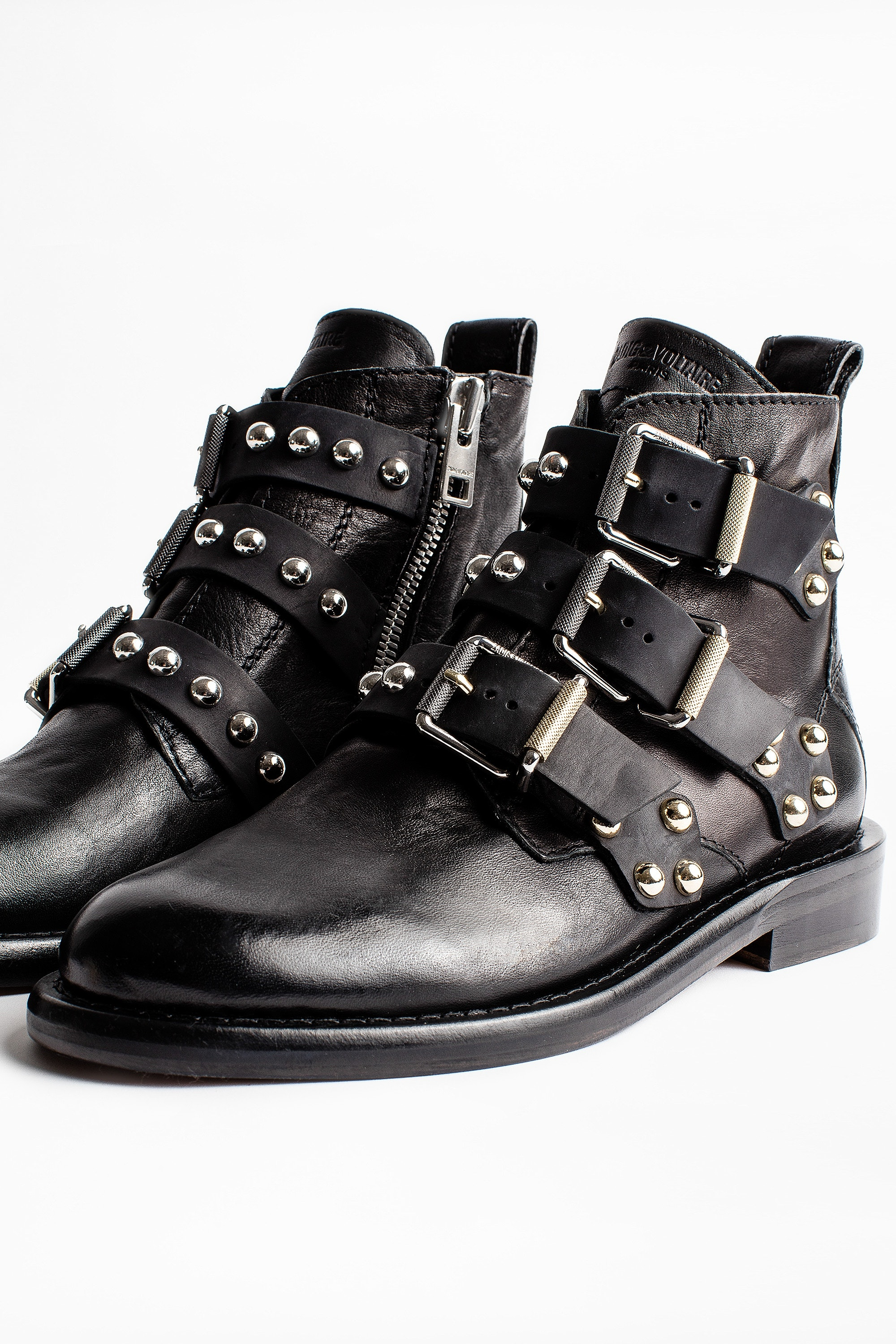 Women Black leather boots with buckles and studs   Jonak
