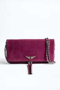 Rock Suede Patent Clutch