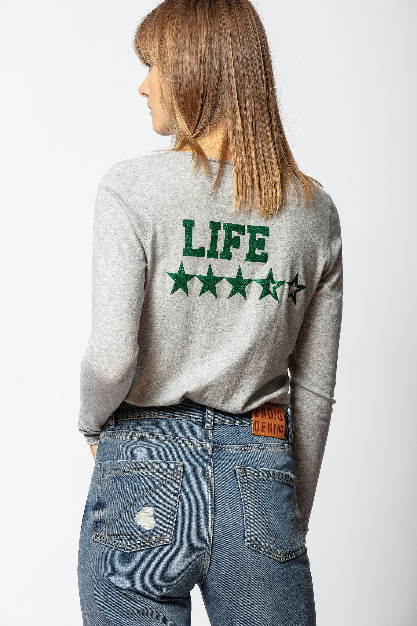Life Strass Tunisian Collar T-shirt
