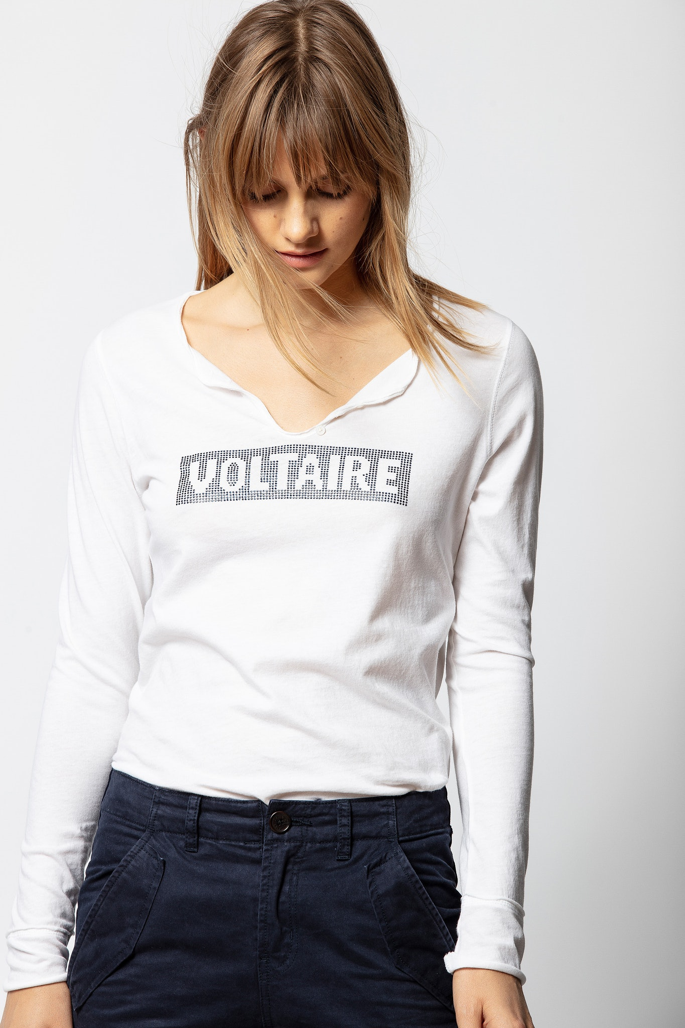 Voltaire Strass Tunisian Collar T-shirt