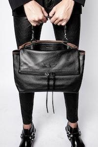 Twin's Zip Grained Suede Bag