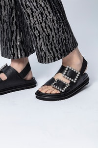Alpha Grunge Metallic Sandals