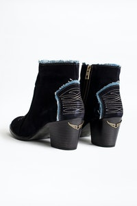 Molly Suede Denim Ankle Boots