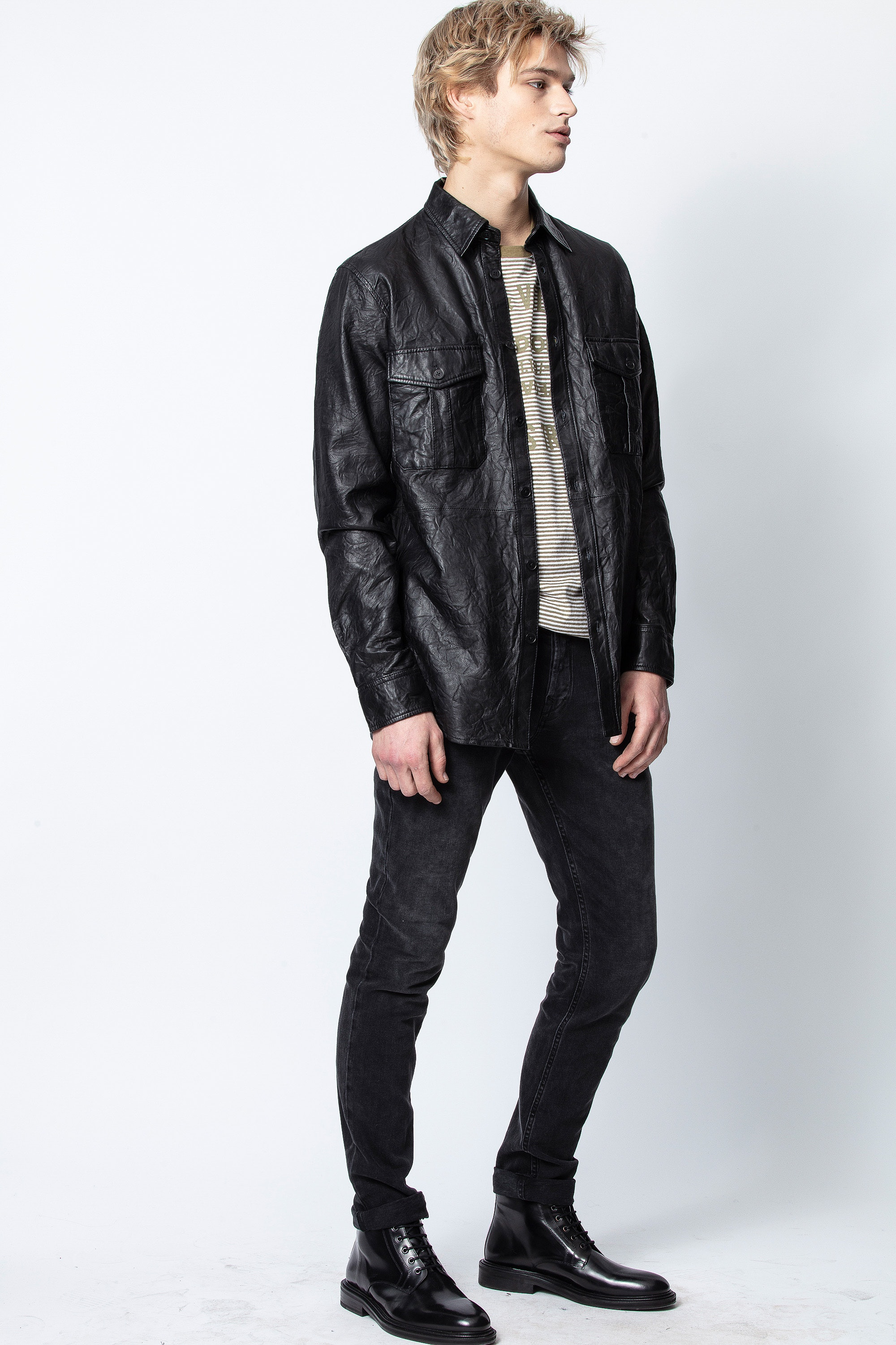 Taskah Crinkle Leather Shirt