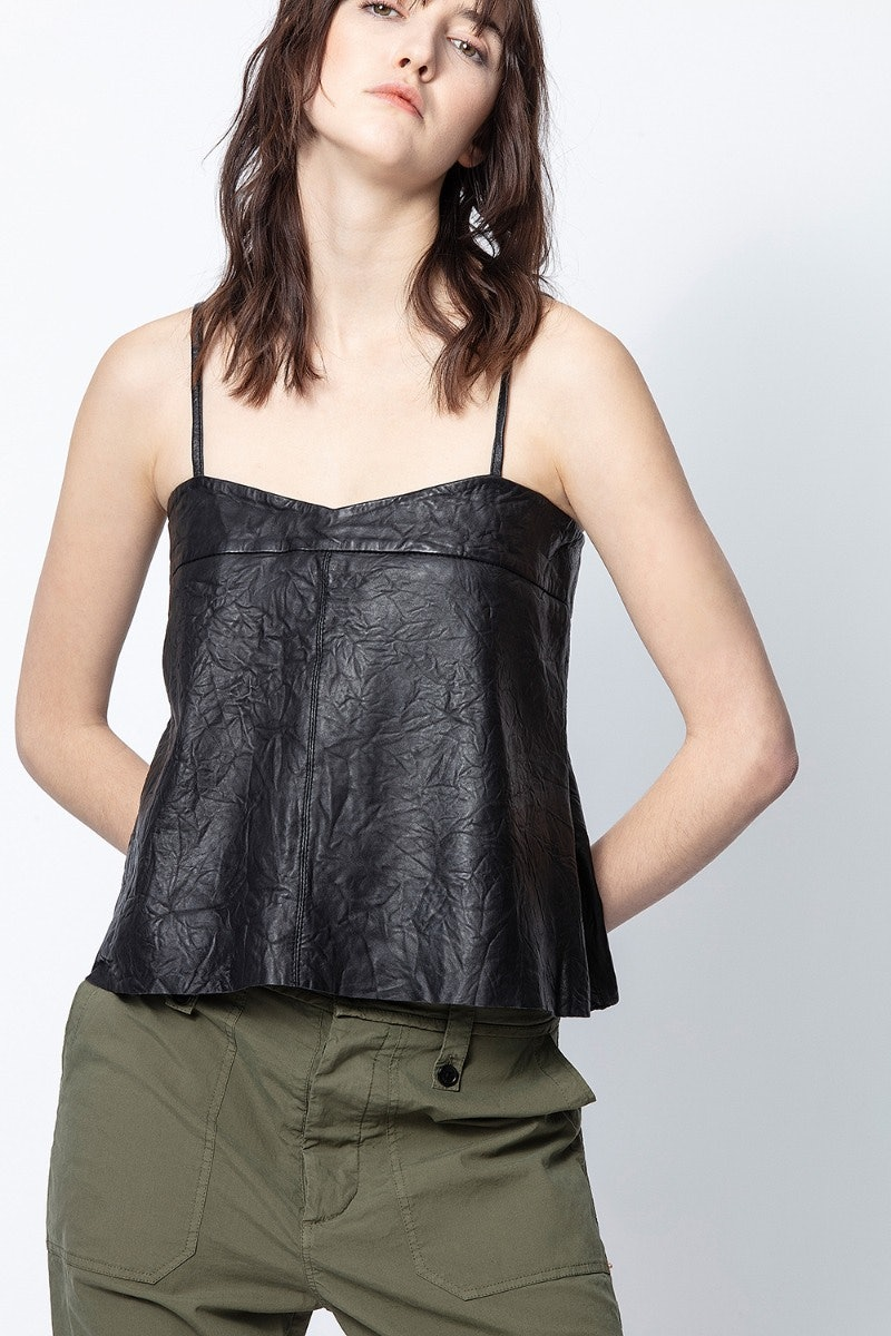 Codi Crinkle Leather Camisole