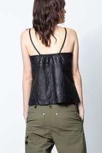 Codi Crinkle Leather Camisole