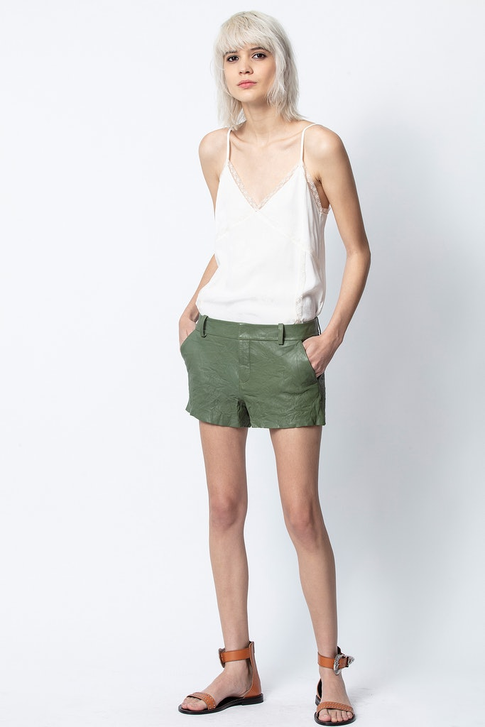 Simio Crinkle Leather Shorts