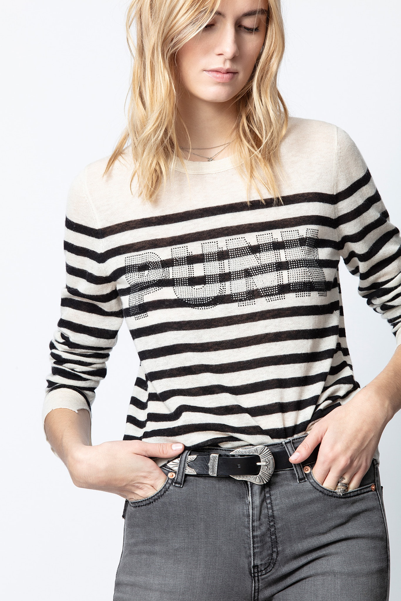 Source Stripes Punk 3D Strass Cashmere Sweater