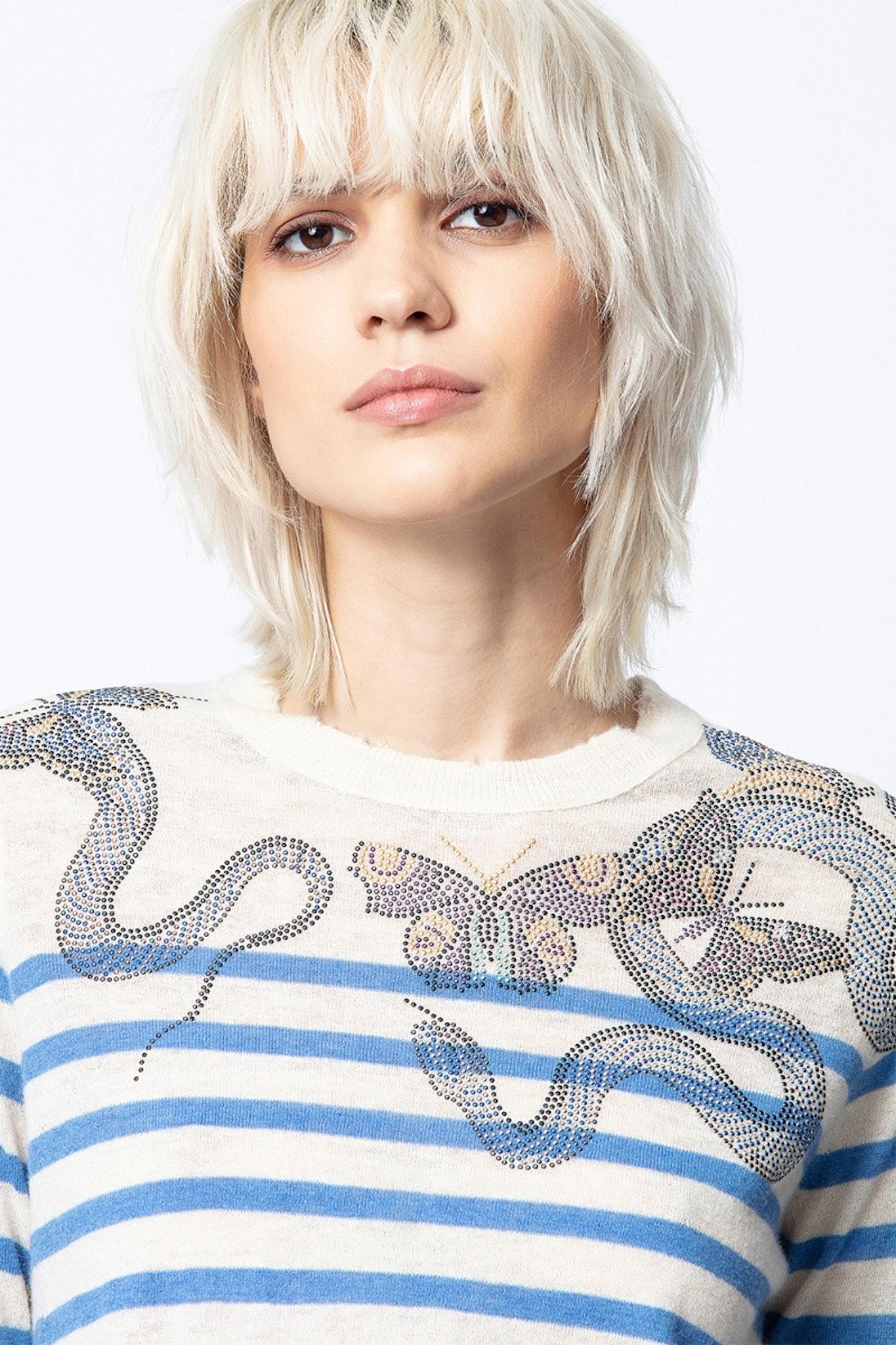 Pullover Miss Stripes Multicusto Kaschmir