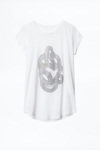T-Shirt Skinny Strass Skull Snake