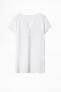 Destinee Strass Cotton Henley T-shirt