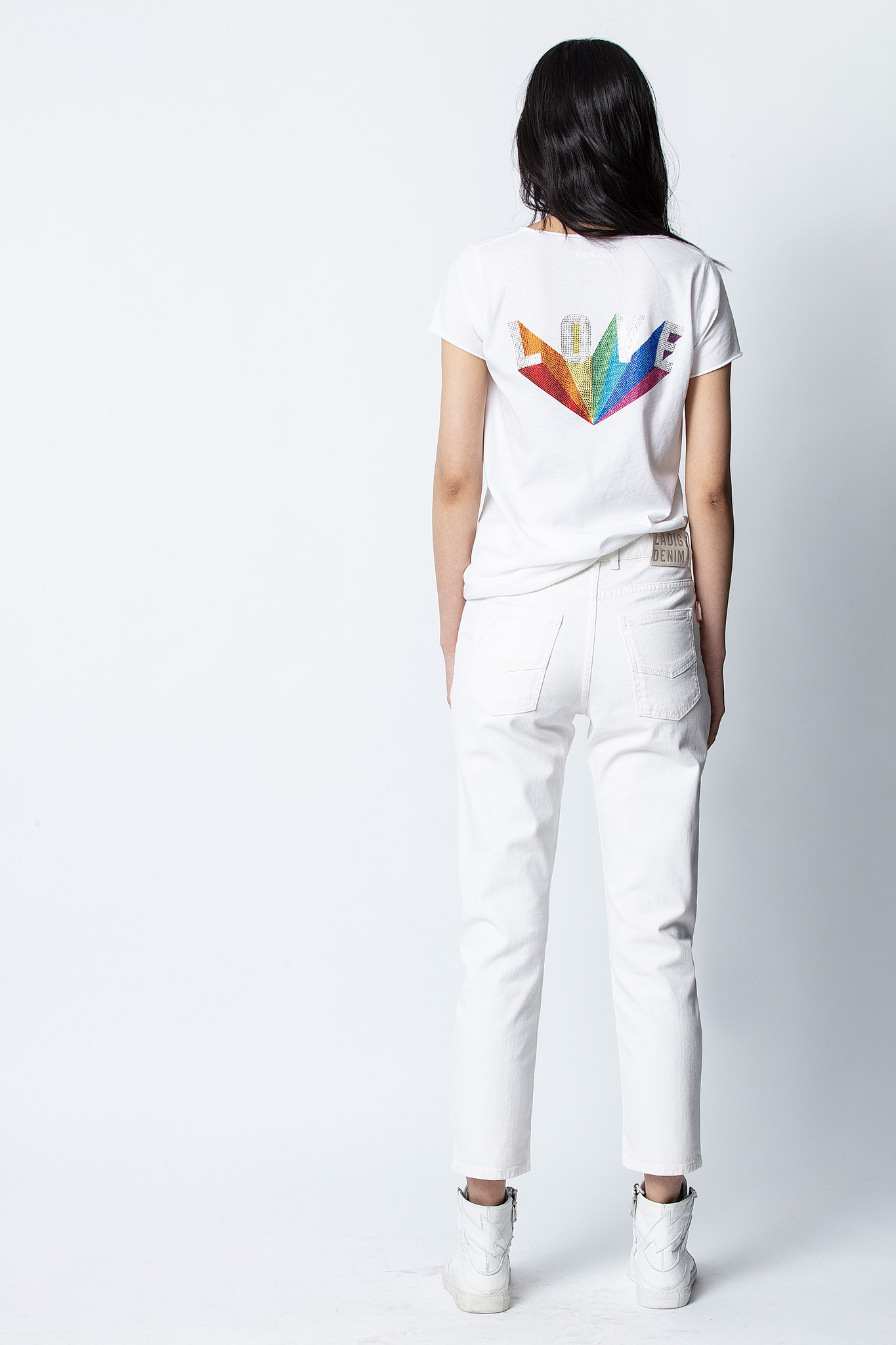 Love Rainbow Strass Henley T-shirt