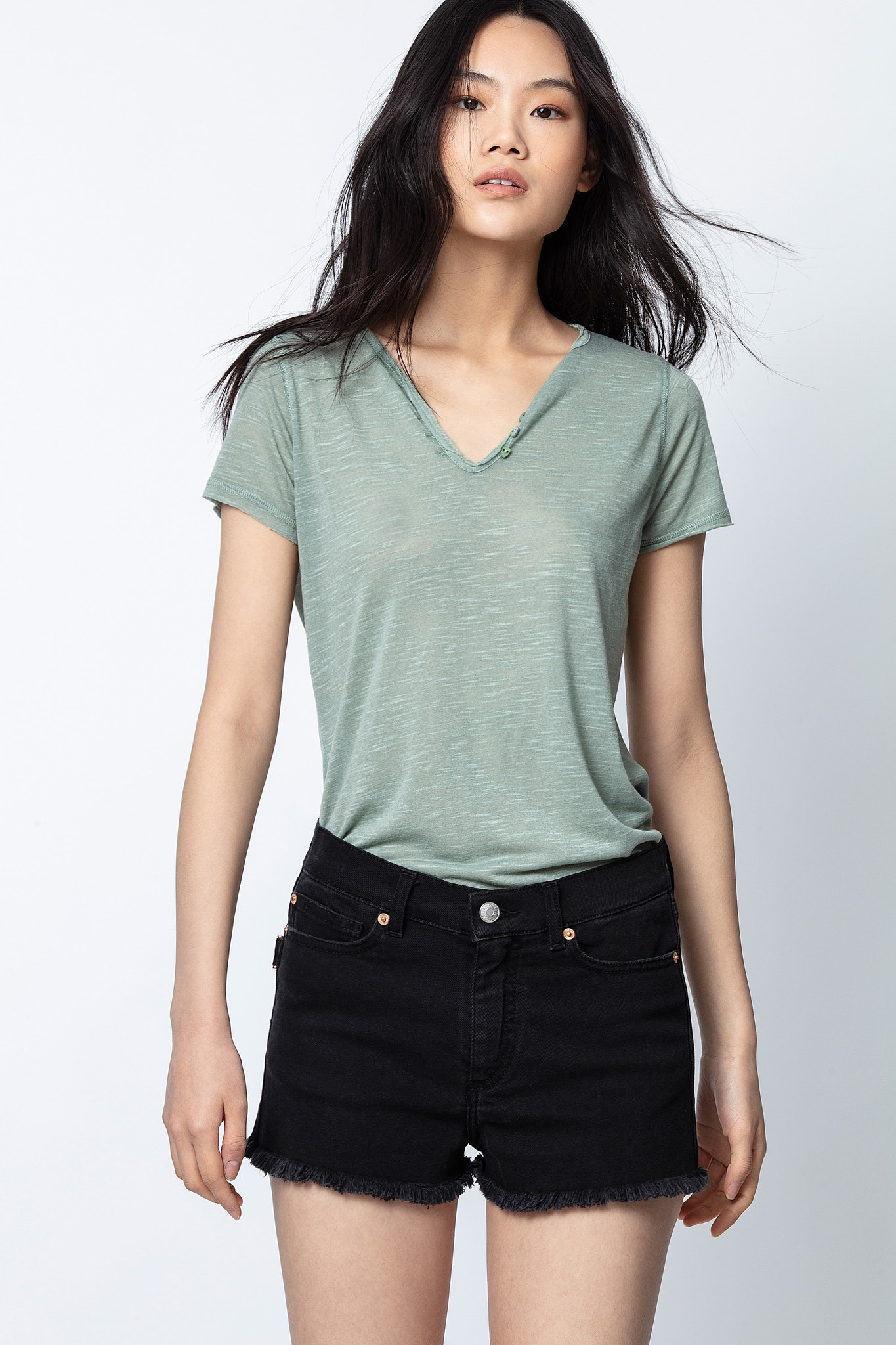 Henley-Ausschnitt T-Shirt Slub